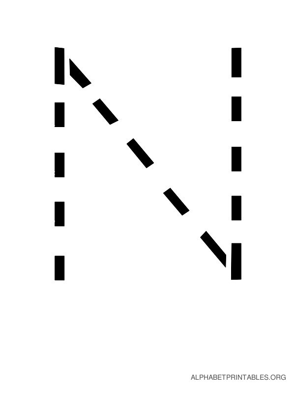 Capital Handwriting Tracing Letters N