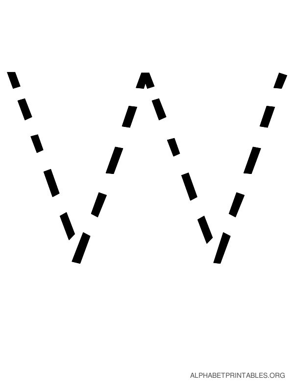 Capital Handwriting Tracing Letters W