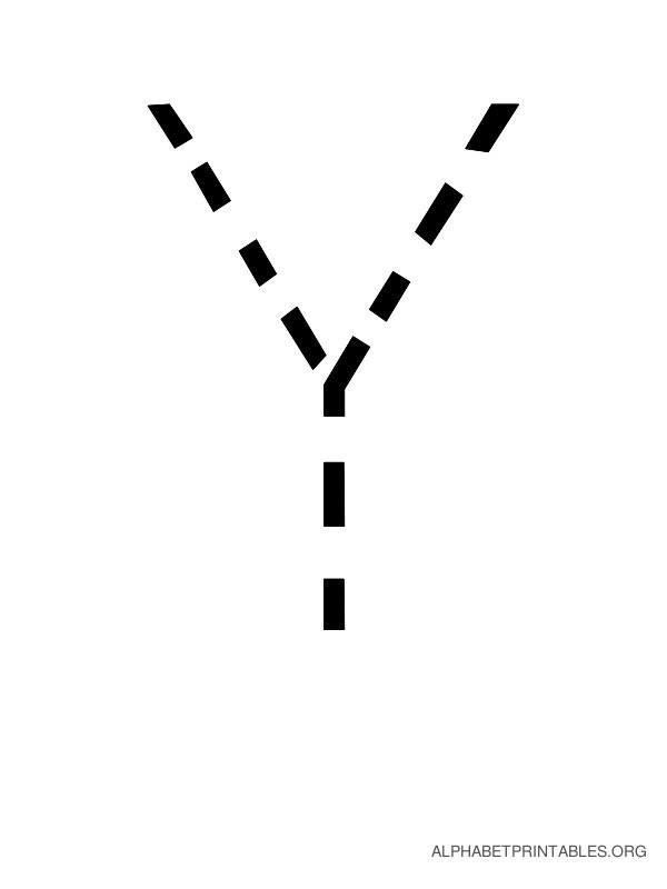 Capital Handwriting Tracing Letters Y