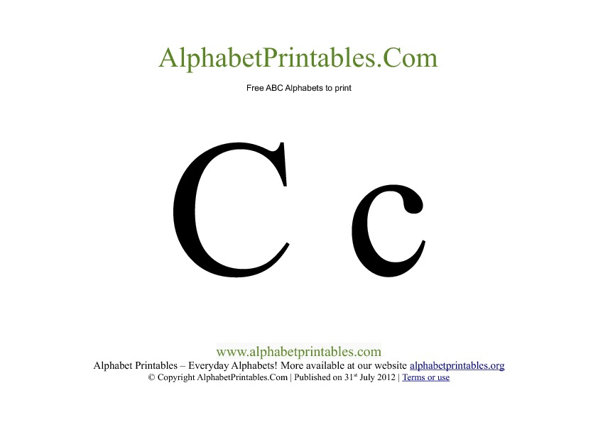 Uppercase Lowercase PDF Printable Alphabet Letters C