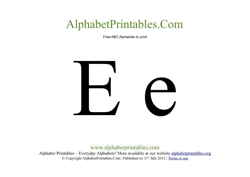 Uppercase Lowercase PDF Printable Alphabet Letters E
