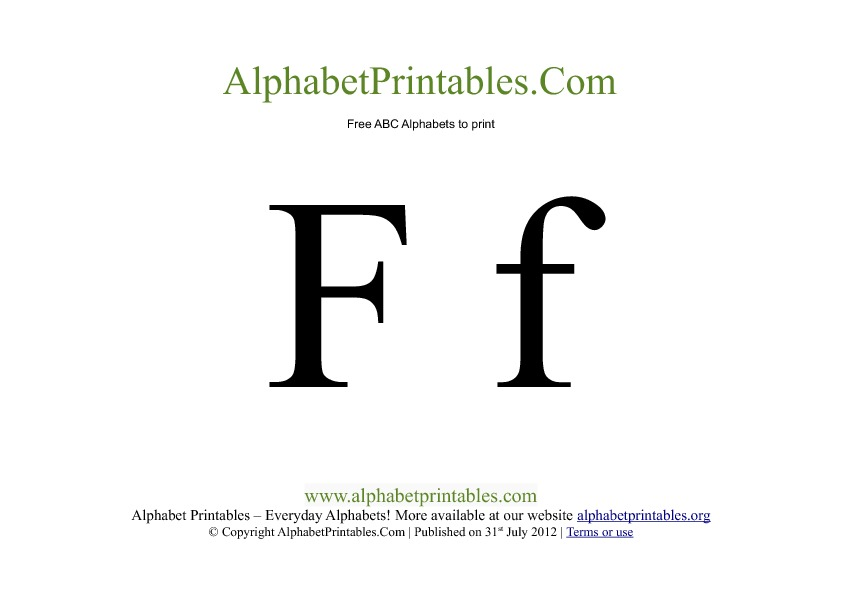 Uppercase Lowercase PDF Printable Alphabet Letters F