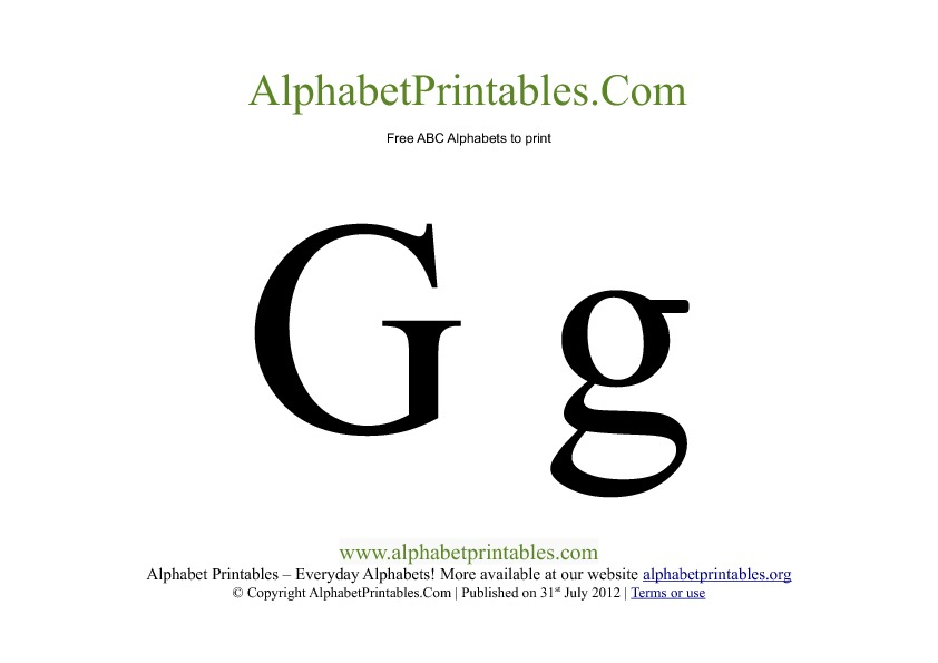 Uppercase Lowercase PDF Printable Alphabet Letters G