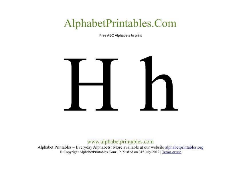 Uppercase Lowercase PDF Printable Alphabet Letters H