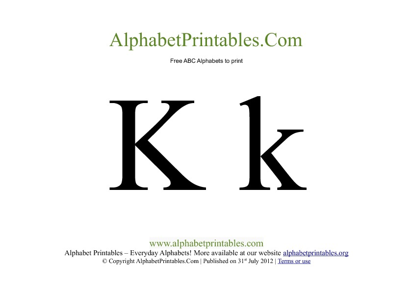 Uppercase Lowercase PDF Printable Alphabet Letters K