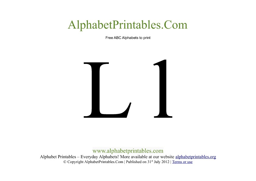 Uppercase Lowercase PDF Printable Alphabet Letters L