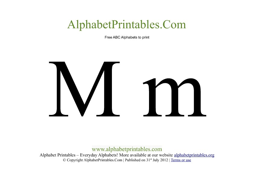 Uppercase Lowercase PDF Printable Alphabet Letters M