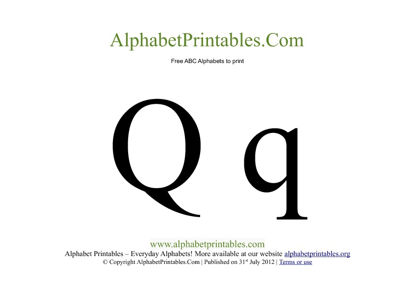 Uppercase Lowercase PDF Printable Alphabet Letters Q