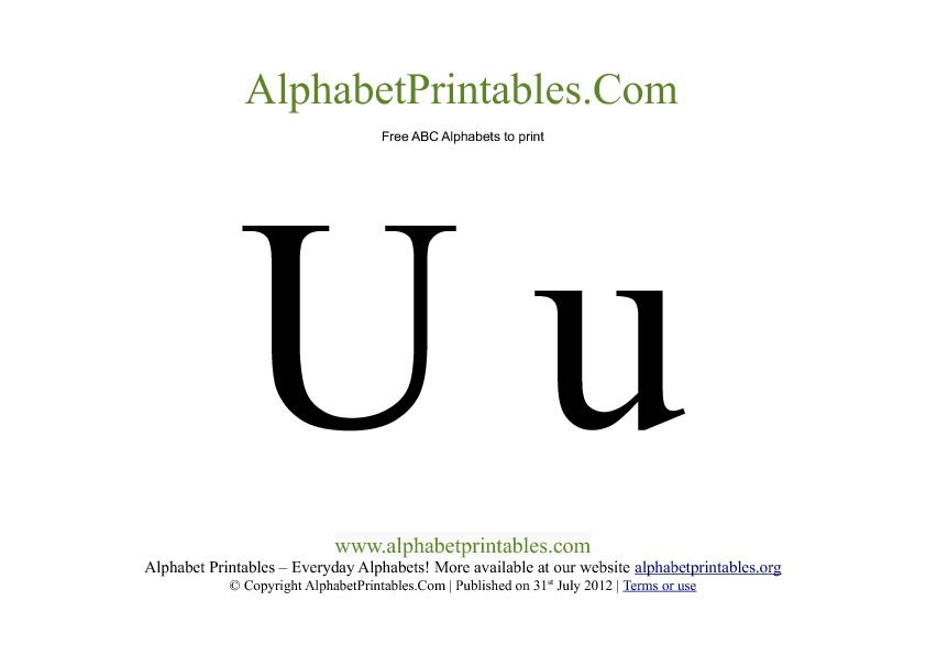 Uppercase Lowercase PDF Printable Alphabet Letters U