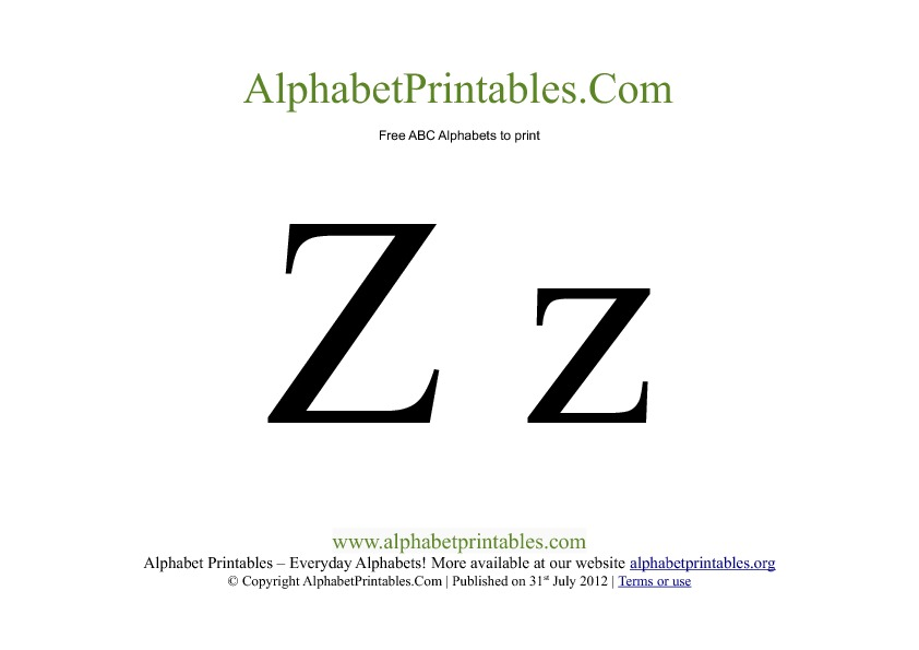 Uppercase Lowercase PDF Printable Alphabet Letters Z