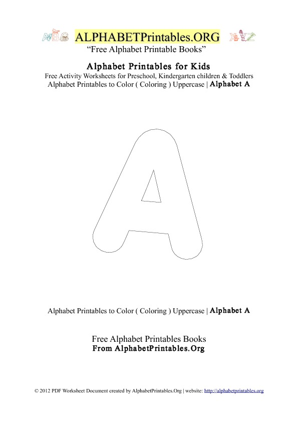 Alphabet Printables Capital Letter A Coloring