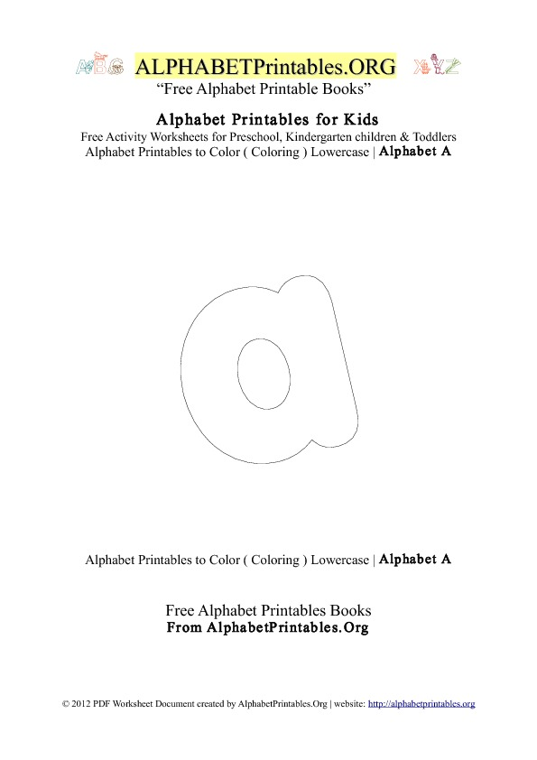 Alphabet Printables Small Letter A Coloring