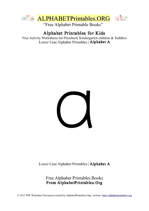 Alphabet Printables Lowercase Letter A
