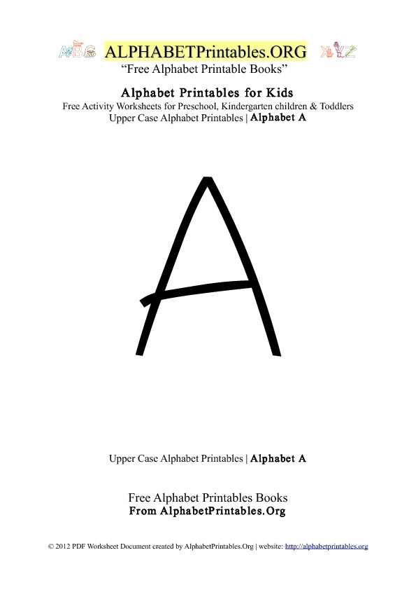 Alphabet Printables Uppercase Letter A