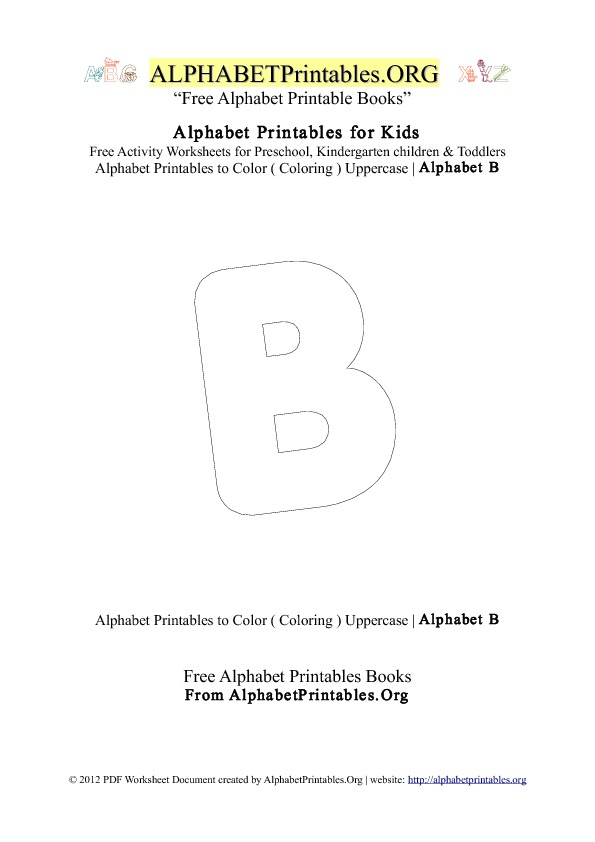 Alphabet Printables Capital Letter B Coloring
