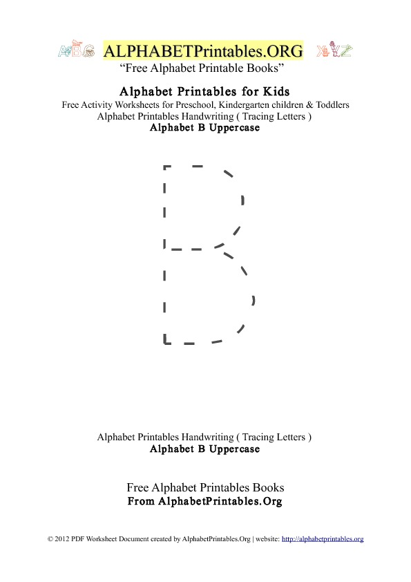 Alphabet Printables Uppercase Letter B Tracing