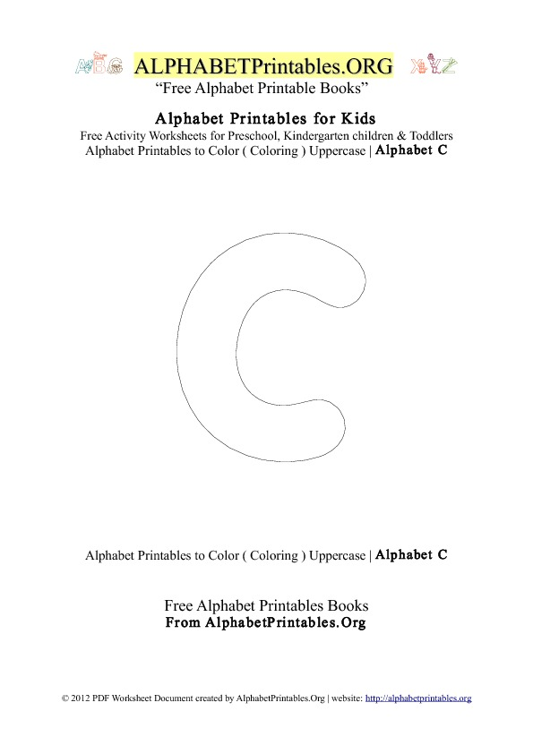 Alphabet Printables Capital Letter C Coloring