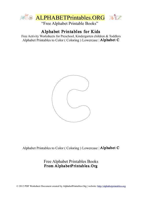 Alphabet Printables Small Letter C Coloring