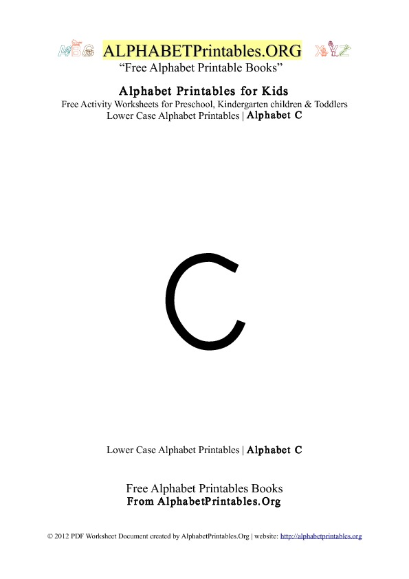Alphabet Printables Lowercase Letter C