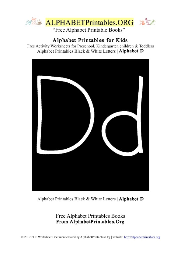 Letter D Alphabet Printables for Kids