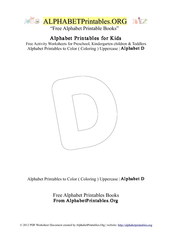 Alphabet Printables Capital Letter D Coloring
