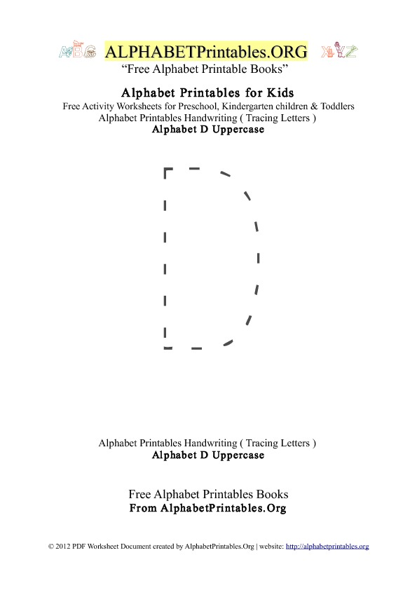 Alphabet Printables Uppercase Letter D Tracing