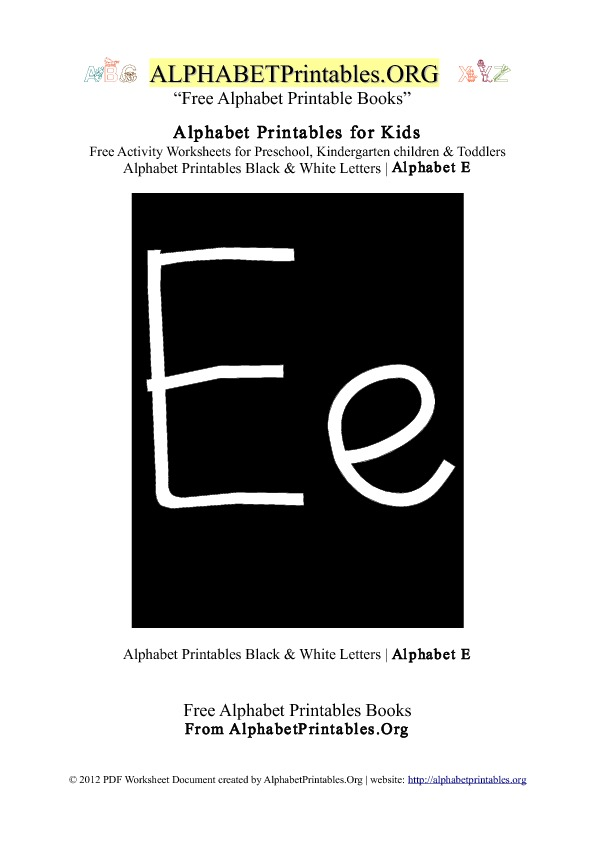 Letter E Alphabet Printables for Kids