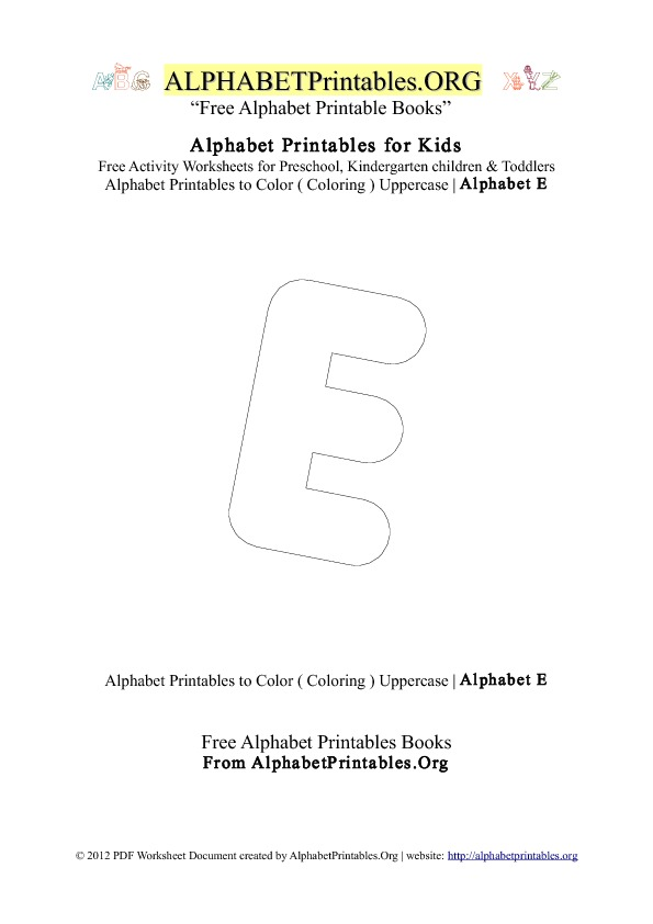 Alphabet Printables Capital Letter E Coloring