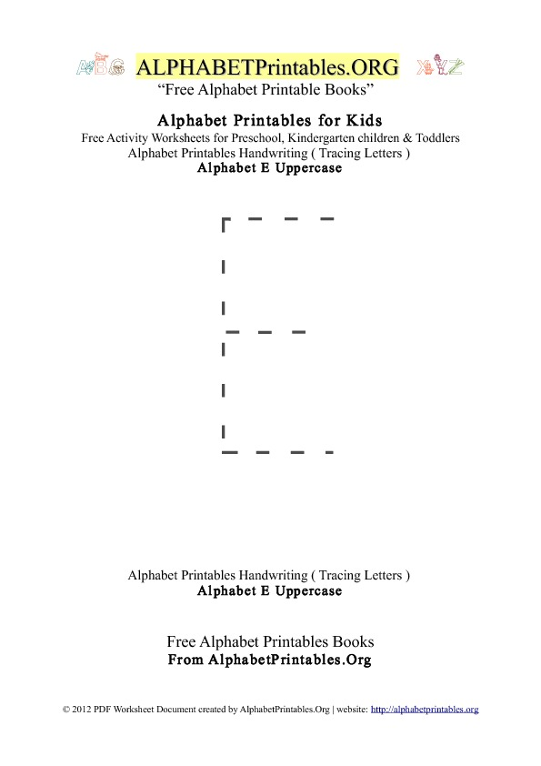 Alphabet Printables Uppercase Letter E Tracing