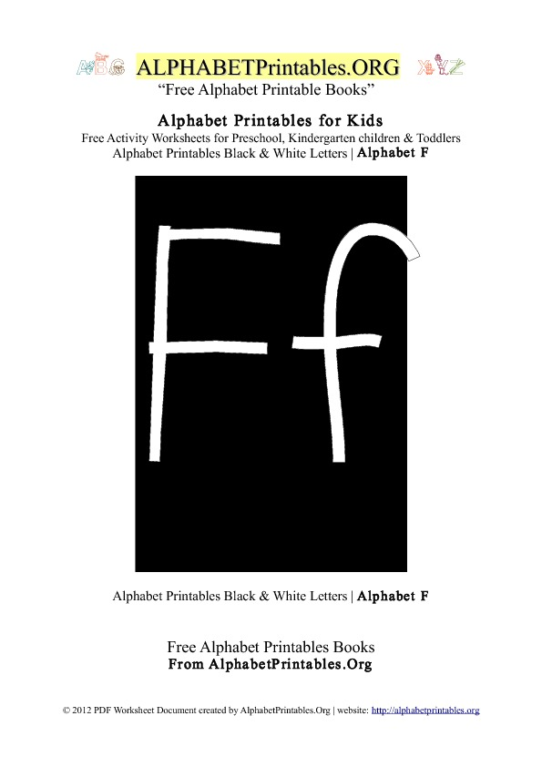 Letter F Alphabet Printables for Kids