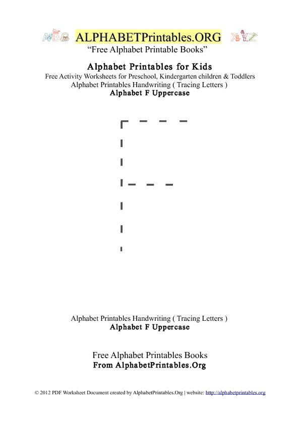 Alphabet Printables Uppercase Letter F Tracing