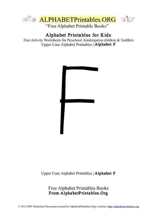 Letter F Alphabet Printables for Kids | Alphabet Printables org