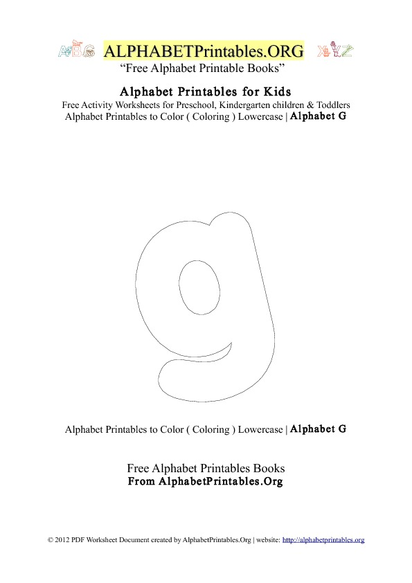 Alphabet Printables Small Letter G Coloring