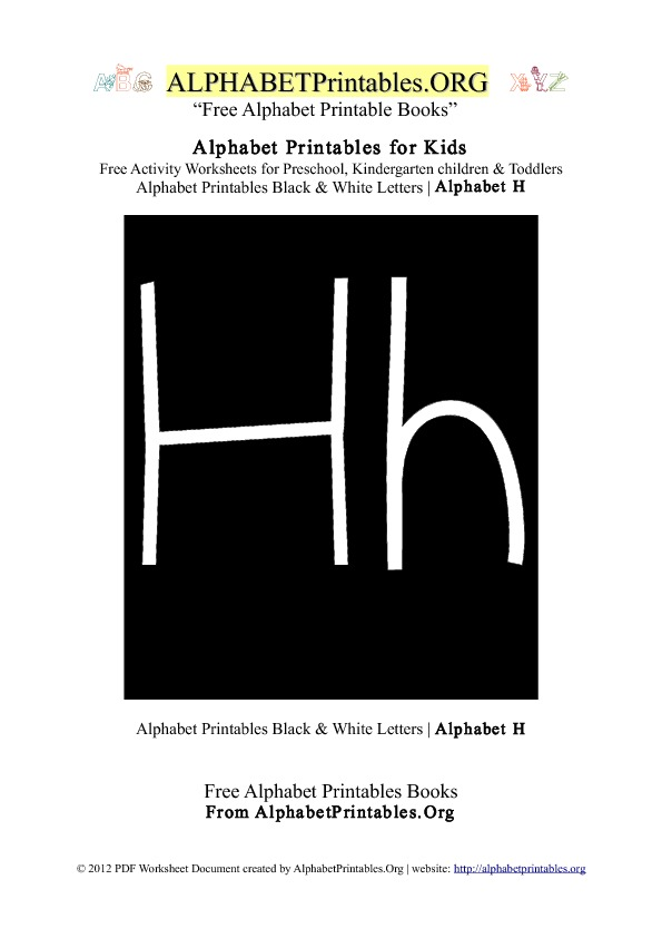 Letter H Alphabet Printables for Kids