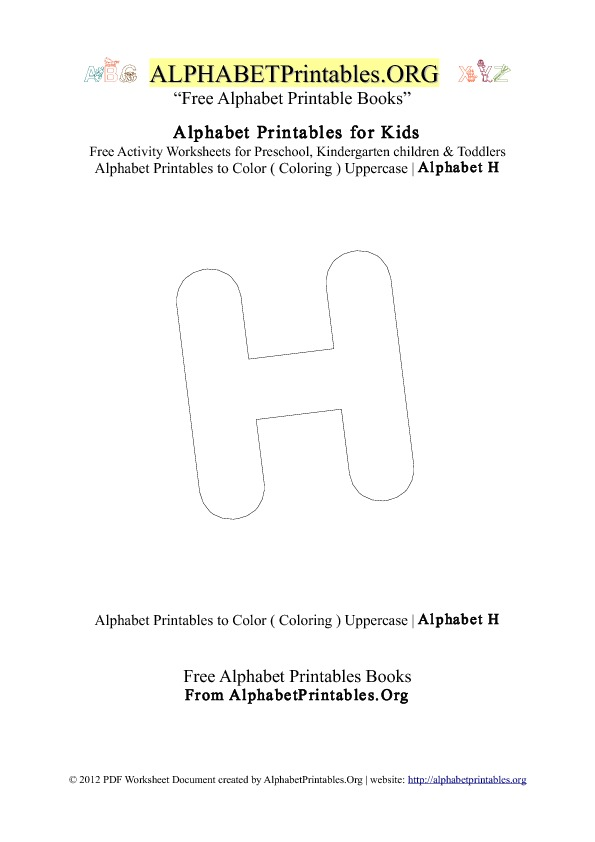 Alphabet Printables Capital Letter H Coloring