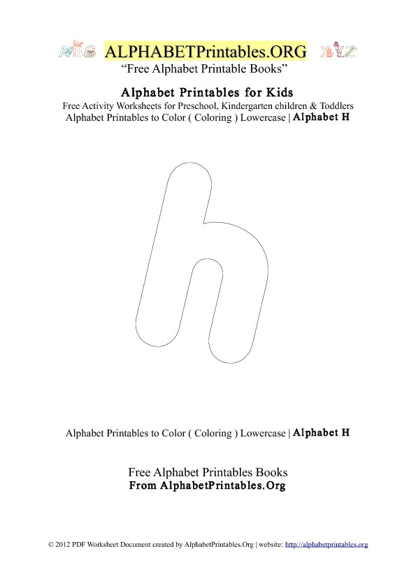 Alphabet Printables Small Letter H Coloring
