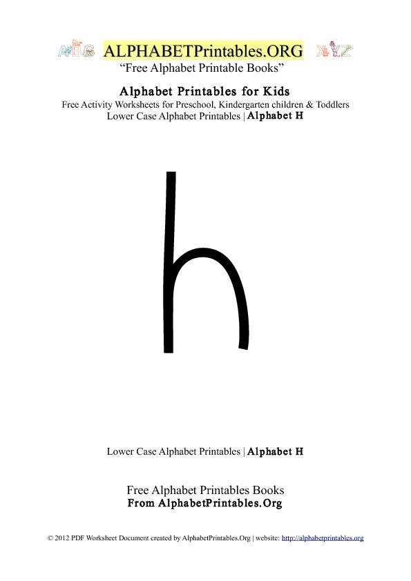 Alphabet Printables Lowercase Letter H