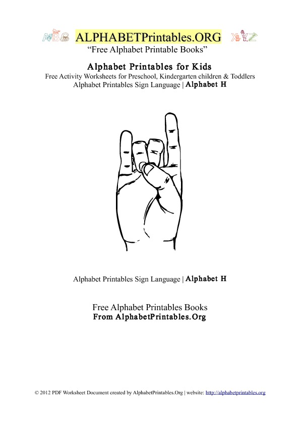 Alphabet Printables Sign Language Letter H