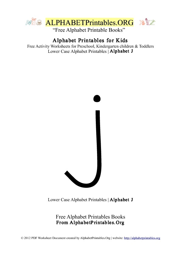 Alphabet Printables Lowercase Letter J