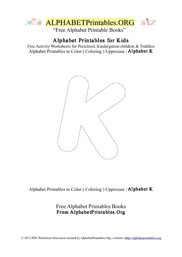 Alphabet Printables Capital Letter K Coloring