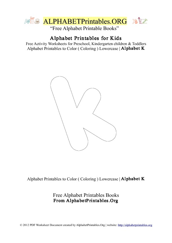 Alphabet Printables Small Letter K Coloring