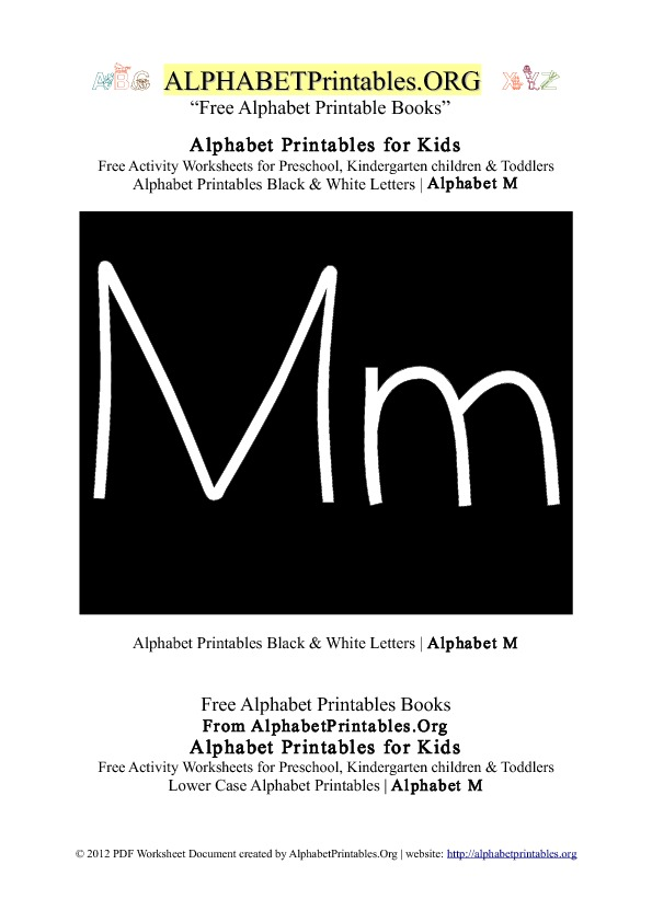 Letter M Alphabet Printables for Kids