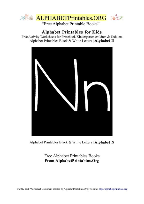 Letter N Alphabet Printables for Kids