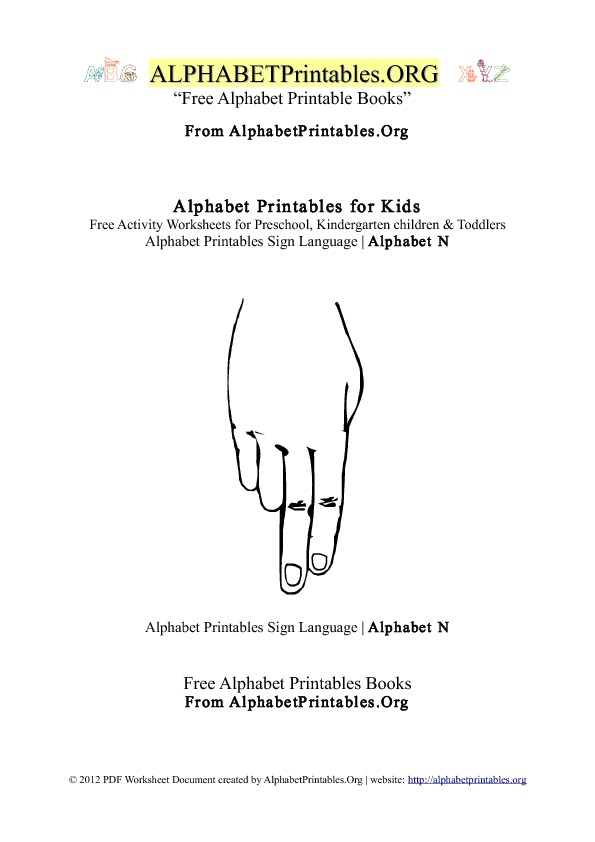 Alphabet Printables Sign Language Letter N