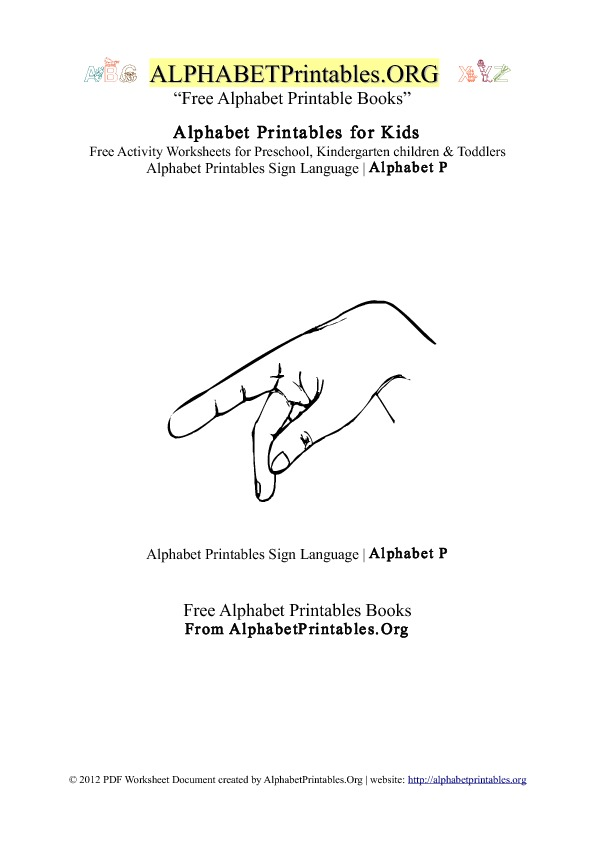 Alphabet Printables Sign Language Letter P