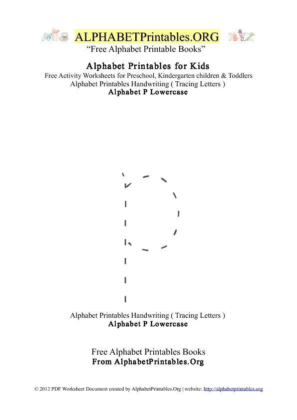 Alphabet Printables Lowercase Letter P Tracing
