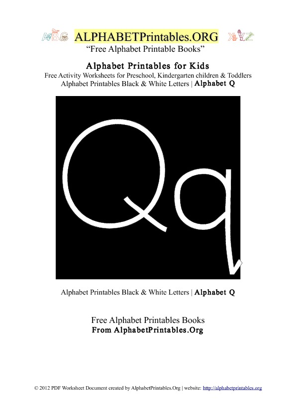 Letter Q Alphabet Printables for Kids