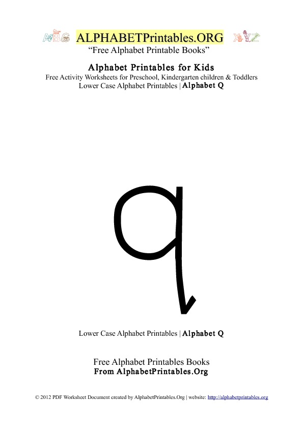 Alphabet Printables Lowercase Letter Q
