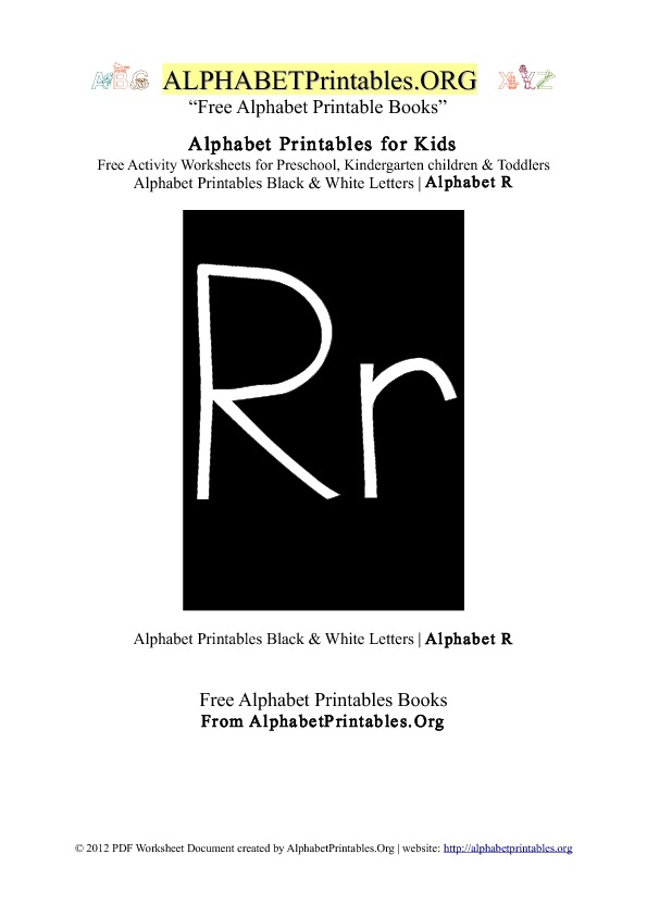 Letter R Alphabet Printables for Kids