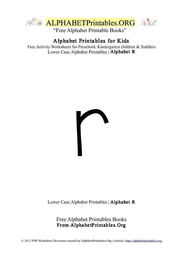 Alphabet Printables Lowercase Letter R